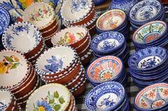 keramiska portugisiska saucers Royaltyfri Foto