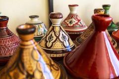 Keramiska souvenir av Fez, Marocko Royaltyfri Bild