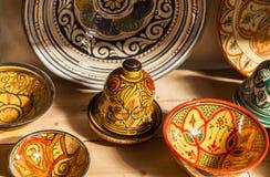 Keramiska souvenir av Fez, Marocko Arkivbilder