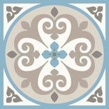 Keramiska tegelplattor för forntida golv Viktorianskt engelskagolv som belägger med tegel designen, sömlös vektormodell royaltyfri illustrationer