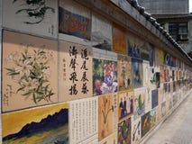 Keramiska tegelplattor målar konst eller väggkonst på taiwan arkivfoton
