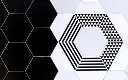 Keramiska tegelplattor med geometriska modeller Svartvita keramiska tegelplattor för bakgrund arkivfoton