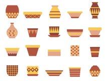 Keramiska tomma Clay Pots Icon Set stock illustrationer