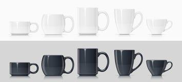 Keramiskt råna för te och kaffe stock illustrationer