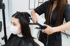 Keratin hair straightening procedure