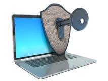 Kerbencomputerschutz. Laptop, Schild und Schlüssel Lizenzfreie Stockfotos