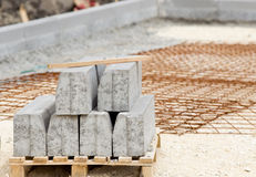 Kerbs on pallete at construction site Royalty Free Stock Photos