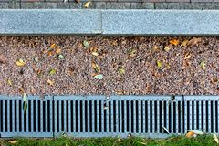 Kerbstone and rainwater drainage system in a park Stock Images