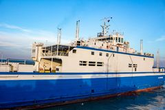 KERCH, CRIMEA - OCT. 2014: Port Krym. Kerchenskaya ferry crossing stock photo