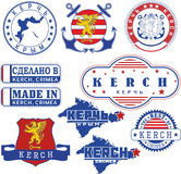 Kerch, Crimea. Set of stamps and signs Stock Photo