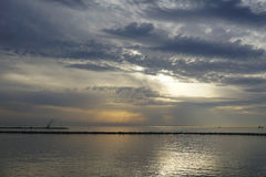 The Kerch Strait at sunset. The Kerch Strait at the sun at sunset Stock Photos
