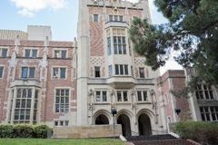 Kerckhoff Hall at UCLA. Los Angeles, CA: May 7, 2017: Kerckhoff Hall at UCLA. UCLA is a public university in Los Angeles Royalty Free Stock Image