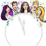 Kerel, beeldverhaal, viering, champagne, vrolijk, kinderen, klok, leuk, ontwerp, feestof, vriendschap, pret, meisje, meisjes en j royalty-vrije illustratie