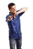 Kerel in de blauwe overhemdsreeks Royalty-vrije Stock Afbeeldingen