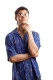 Kerel in de blauwe overhemdsreeks Stock Foto