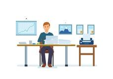 Kerel die bij computer over project, bij lijst nippende koffie werken vector illustratie