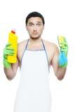 Kerel die wordt gedwongen om schoon te maken Stock Afbeeldingen