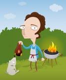 Kerel die zijn vlees op de barbecue brandt Royalty-vrije Stock Afbeeldingen