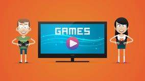 Kerel en meisjes het spelen videospelletjes royalty-vrije illustratie