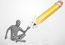 Kerel in lichaamsmasker met een groot hand getrokken potlood Stock Fotografie