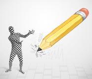 Kerel in lichaamsmasker met een groot hand getrokken potlood Royalty-vrije Stock Foto