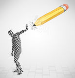 Kerel in lichaamsmasker met een groot hand getrokken potlood Stock Foto