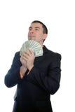 Kerel met dollars in een kostuum royalty-vrije stock foto