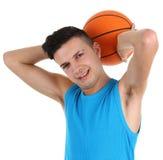Kerel met een basketbal Stock Foto
