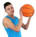 Kerel met een basketbal Royalty-vrije Stock Afbeeldingen
