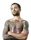 Kerel met een tatoegering Stock Afbeeldingen