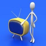 Kerel met een TV Stock Foto's