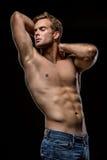 Kerel met naakt torso in studio royalty-vrije stock foto