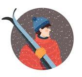 Kerel met skis royalty-vrije illustratie