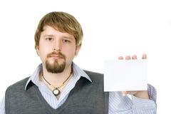 Kerel met teken (envelop) Stock Afbeelding