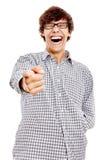 Kerel met vinger die op u richten stock afbeeldingen