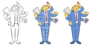 Kerel met zes handen die voorwerpen houden Arbeider met multitasking en multivaardigheid Niet genoeg handen Kan niet op tijd word stock illustratie