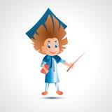 Kerel universitaire gediplomeerde met wijzer - vectorillustratie Royalty-vrije Stock Foto