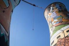 Kerelbungee die van Orlando Towers in Soweto springen Royalty-vrije Stock Foto
