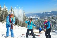 Kerels die sneeuwbalstrijd hebben Stock Afbeeldingen