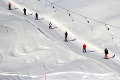 Alpiene het ski?en lift Royalty-vrije Stock Foto's