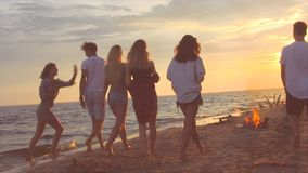 Kerelsgang op een strand stock footage