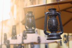 Kereosene lamps decor. Kerosene lamps decor in Lviv city center, Ukraine Stock Photo