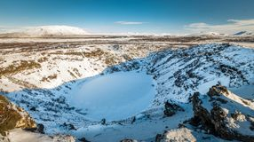 Kerid冰岛火山的火山口 免版税库存照片