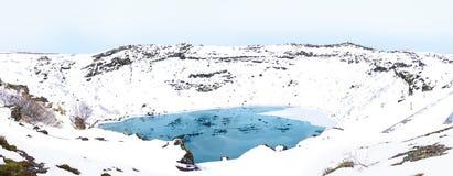 Kerid火山火山口在冰岛全景 免版税库存照片