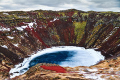 Kerid crater lake tourism Royalty Free Stock Image