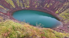 Kerid Crater Lake Stock Photo