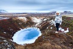 Kerid crater woman Stock Photos