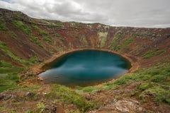 Kerid, lago vulcanico nell'area di Grimsnes, Islanda del sud del cratere Immagine Stock