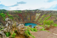 Kerid a lake filled volcanic crater Royalty Free Stock Photo