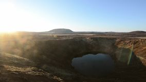 Kerid volcanic crater lake stock footage